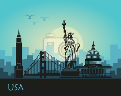 Abstract landscape of the city with sights of the USA