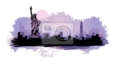 Abstract landscape of the city with sights of the USA on paint spots
