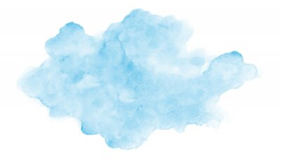 Sticker Abstract light blue clouds watercolor stain on white background