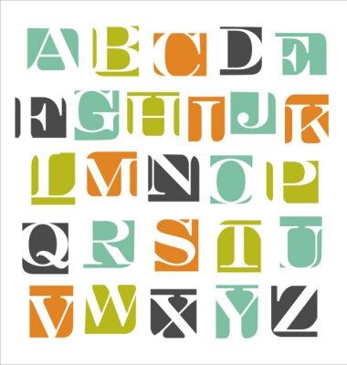 Sticker abstract modern alphabet poster