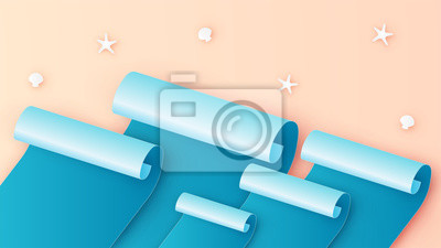 Abstract of top view beach in paper roll style. paper cut and craft style. vector, illustration.