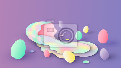 Abstract of variety color Easter eggs. Creative design for Easter festival. paper cut and craft style. vector, illustration.