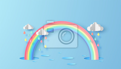 Abstract Rainbow in the rainy season. Paper art design for clouds and rainbow in rain season. paper cut and craft design. vector, illustration.