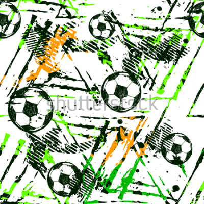 Sticker Abstract seamless football pattern. Sport game wallpaper. Set of Soccer ball on grunge urban background,curved lines, shabby shape texture,  spray paint ink elements. boy repeated backdrop