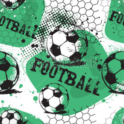 Sticker Abstract seamless pattern for boys. Football pattern. Grunge urban pattern with football ball. Sport wallpaper on white background with black and green. Repeated sport pattern.