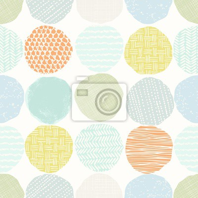 Abstract seamless pattern of circles with hand drawn texture in pastel colors. Tender vector illustration in vintage style on beige background.