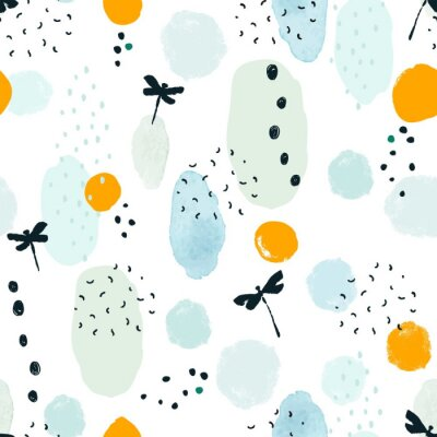 Abstract seamless pattern with dots, silhouette dragonflies and colorful spots. Vector illustration on white background.