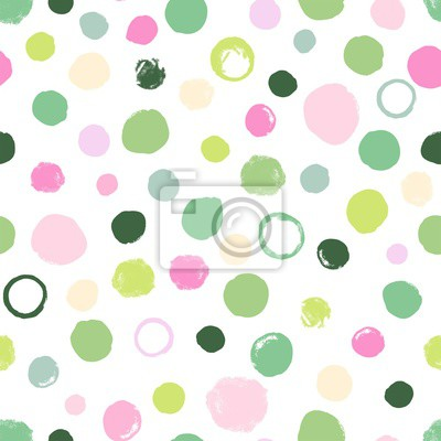 Abstract seamless pattern with green and pink spots. Vector doodle illustration on white background.