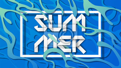 abstract summer text design with frame in paper art style on blue water surface background. paper cut and craft style. vector, illustration.