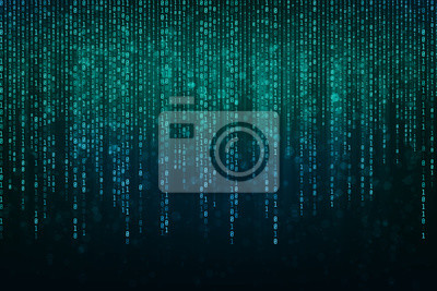 Sticker Abstract Technology Binary code Background with binary data fall from the top of the screen.Digital binary data and Secure Data Concept