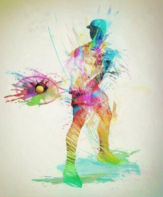 Sticker Abstract tennis player