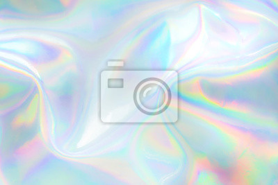 Sticker Abstract trendy holographic background. Real texture in pale violet, pink and mint colors with scratches and irregularities
