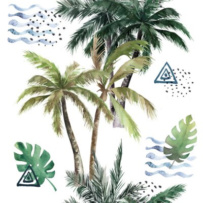 Sticker Abstract tropical pattern with  palm trees. Watercolor seamless print. Jungle summer  background