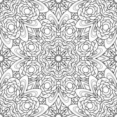 Sticker Abstract vector dekorative ethnische Mandala schwarz und weiß nahtlose Muster.
