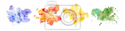 Sticker Abstract watercolor shapes on white background. Color splashing hand drawn vector painting