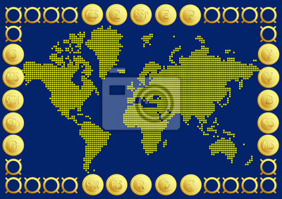 Abstract world map of gold round dots end currency notebook-sticker ...
