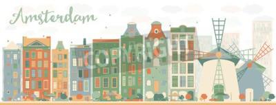 Sticker Abstrakt Amsterdam Skyline der Stadt mit Farbgebäuden. Vektor-Illustration. Geschäftsreise- und Tourismuskonzept mit historischen Gebäuden. Bild für Präsentation, Banner, Plakate und Website.