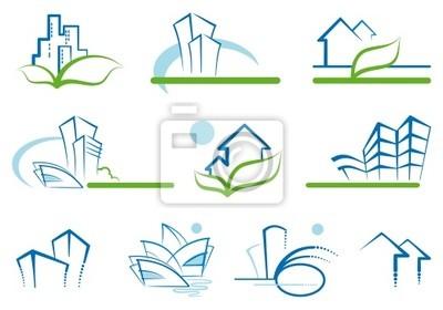 Abstrakt Architektur -Icon-Set