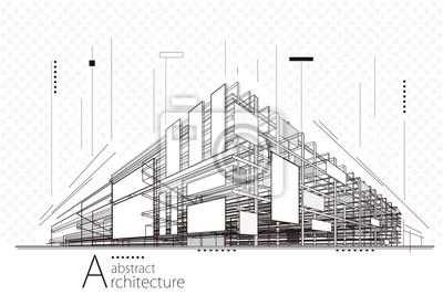 Sticker Abstrakt Bau Perspektive Architektur Design Linie Kunst Hintergrund.