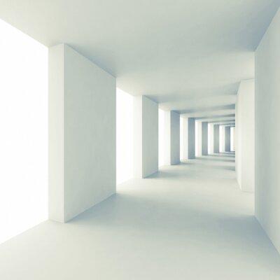 Sticker Abstrakte Architektur 3d Hintergrund, leeren weißen Korridor