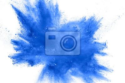 Sticker Abstrakte blaue Staubexplosion auf weißem Hintergrund.  Bewegung des blauen Pulverspritzers einfrieren.  Gemalt Holi im Festival.