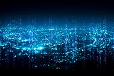 Sticker Abstrakte digitale Signatur über Nacht Stadt Hintergrund
