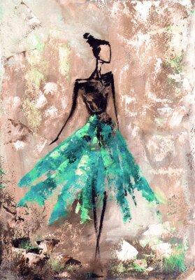 Abstrakte Frau im Kleid, Ölgemälde
