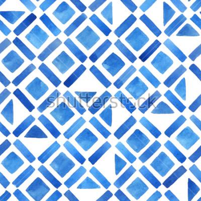 Sticker Abstrakte geometrische Fliese des Aquarells. Nahtloses Muster in Blau