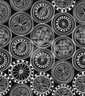 Sticker Abstrakte geometrische nahtlose Hintergrund-Textur-Muster Ethnische
