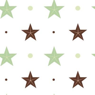 Sticker Abstrakte grüne und braune Sterne nahtlose Vektor-Muster Hintergrund Illustration in skandinavischen Farben