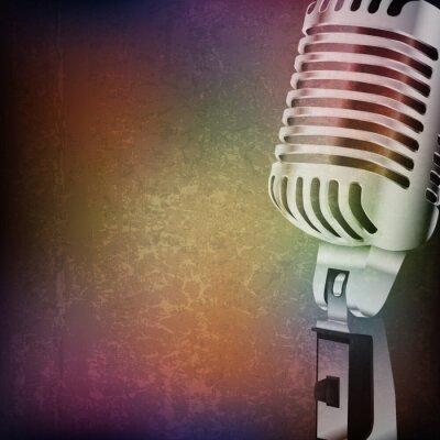 Sticker abstrakte Grunge Hintergrund mit Retro-Mikrofon