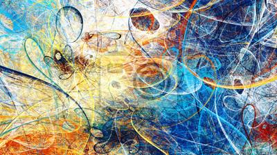 Sticker Abstrakte helle Farbbewegungszusammensetzung.  Moderner futuristischer dynamischer Hintergrund.  Mehrfarbiges künstlerisches Muster von Farben.  Fraktale Grafik für kreatives Grafikdesign