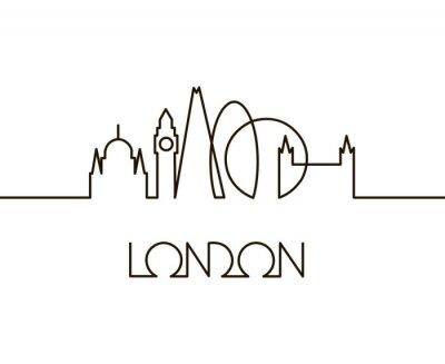 Sticker abstrakte lineare Illustration von London-Stadt auf weißem Hintergrund