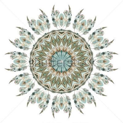 Sticker Abstrakte Mandala der ethnischen Federn des Aquarells. Schnüren Sie sich Muster mit aufwändigen Federn mit den geometrischen Elementen, die auf weißem Hintergrund lokalisiert werden. Handgemalte Illus