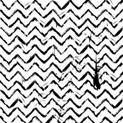 Sticker Abstrakte nahtlose Zick-Zack-Muster schwarz und weiß