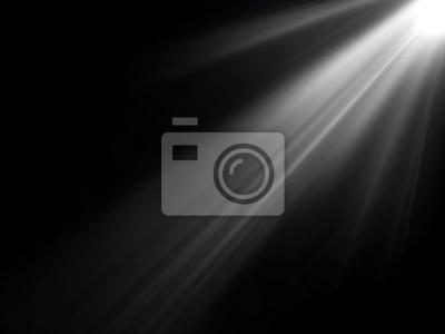 Sticker Abstrakte schöne Strahlen des Lichts auf schwarzem Hintergrund.