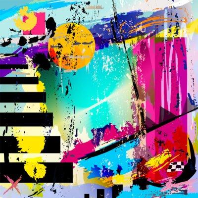 Sticker abstrakten Hintergrund mit Quadrate, Dreiecke, Pinselstriche und