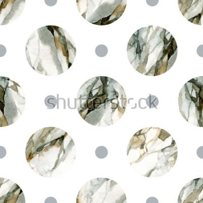 Sticker Abstrakter geometrischer Hintergrund. Aquarell Marmorierung. Aquarell Kreis nahtlose Muster. Kreise mit marmoriertem Aquarell, genarbte Papierstrukturen. Handgemalte Abbildung