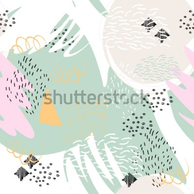 Sticker Abstrakter geometrischer Hintergrund mit Bürstenanschlägen in Memphis-Art. Nahtloses Muster des Vektors mit Hand gezeichneten Elementen. Helle Pastellfarben.