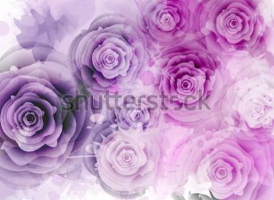Sticker Abstrakter Hintergrund mit Rosen und grunge Spritzenelementen