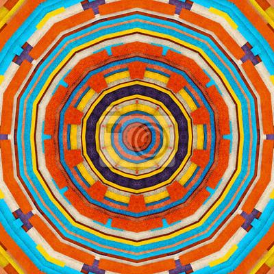Abstrakter Hintergrund - retro bunten verzierten in cyan, orange, p