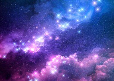 Sticker Abstrakter rosa und blauer Galaxiehintergrund gefüllt mit hellen Sternen. Raster-Darstellung.