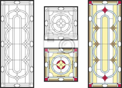 Sticker Abstraktes geometrisches Blumenmuster in einem rechteckigen und quadratischen Rahmen / in einem bunten Buntglasfenster in der klassischen Art für Decken- oder Türverkleidungen, Tiffany-Technik. Vektor