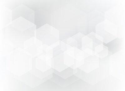 Sticker Abstraktes geometrisches Hexagonüberlagerungsmuster auf weißem und grauem Hintergrund.