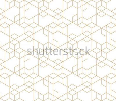 Sticker Abstraktes geometrisches Muster mit der Kreuzung von dünnen goldenen Linien auf weißem Hintergrund. Nahtloser linearer Zusammenhang. Stilvolle fraktale Textur. Vector Muster, um den Hintergrund zu fül