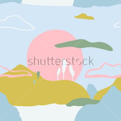 Sticker Abstraktes Muster mit Sonnenuntergang auf Bergen. Nahtlose Beschaffenheit der künstlerischen zeitgenössischen Natur. Fertige Designideen für Poster, trendige Karten, Einladungen, Plakate, Broschüren,