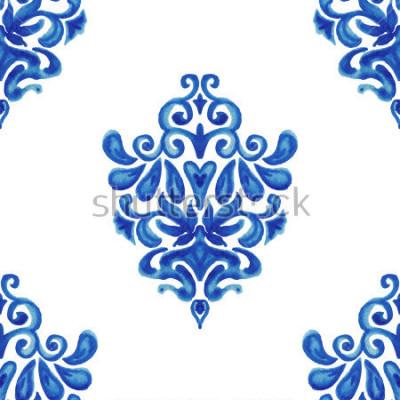 Sticker Abstraktes nahtloses dekoratives Aquarellfarben-Fliesenmuster für Gewebe
