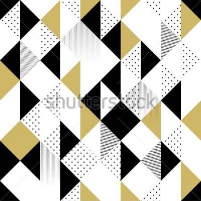 Sticker Abstraktes nahtloses Muster. Nahtloses Muster mit Dreiecken. Goldschwarzweiss-Dreieck Muster. Vektor-Illustration