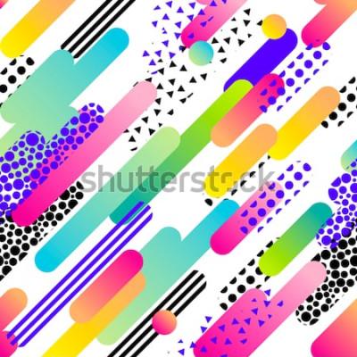 Sticker Abstraktes nahtloses Vektormuster für Mädchen, Jungen, Kleidung. Kreativer Hintergrund mit Punkten, geometrischen Figuren Lustige Tapete für Textil und Stoff. Modestil. Bunt hell