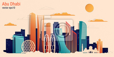 Abu Dhabi city colorful paper cut style, vector stock illustration. Cityscape with all famous buildings. Skyline Abu Dhabi city composition for design.